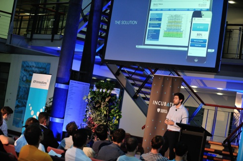 Infrasis founder, Daniel Cannavo, pitching on stage