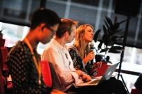 Panelists Petra Andren asks the startups a question