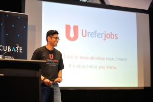 Ureferjobs on stage at Incubate Demo Day