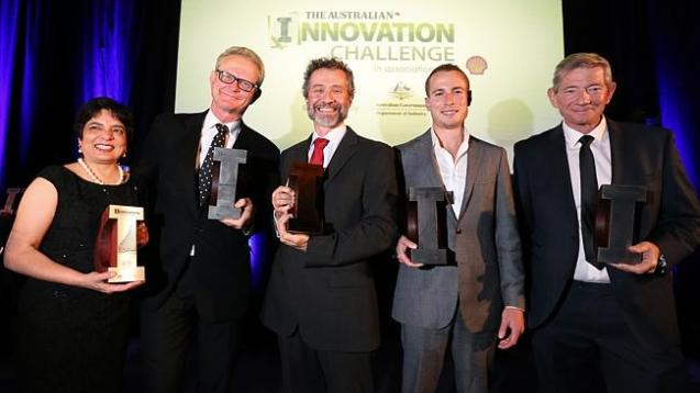 Category winners of The Australian/Shell Innovation Awards at the National Library in Canberra. From left: Marlene Kanga (on behalf of her husband Rustom), Julian Malnic, Antony Schinckel, Chris Wilkins, Roger Dyhrberg. Source: News Corp AustraliaCategory winners of The Australian/Shell Innovation Awards at the National Library in Canberra. From left: Marlene Kanga (on behalf of her husband Rustom), Julian Malnic, Antony Schinckel, Chris Wilkins, Roger Dyhrberg. Source: News Corp Australia